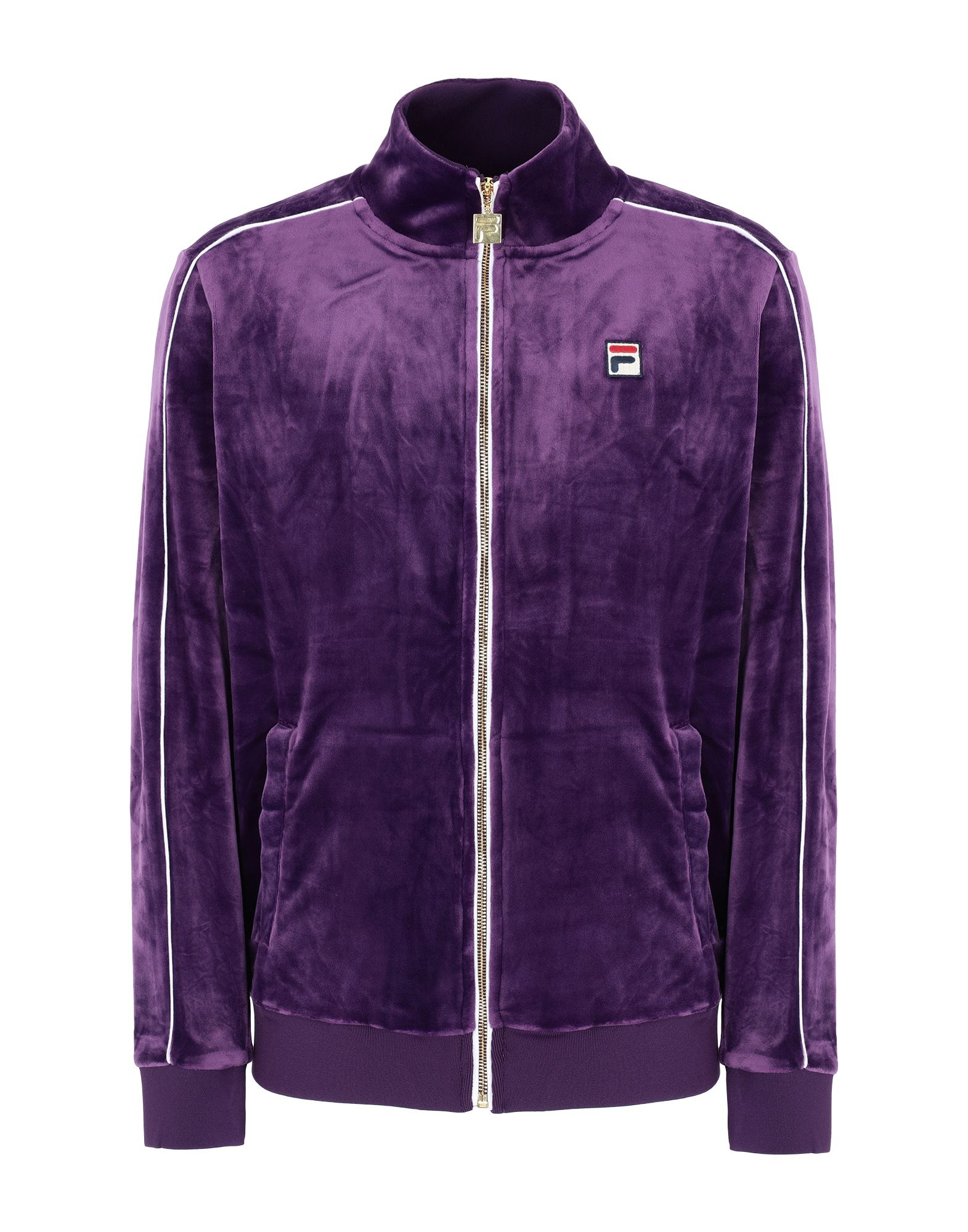 《セール開催中》FILA HERITAGE メンズ スウェットシャツ パープル S ポリエステル 95% / ポリウレタン 5% LINEKER velour track jacket with contrast