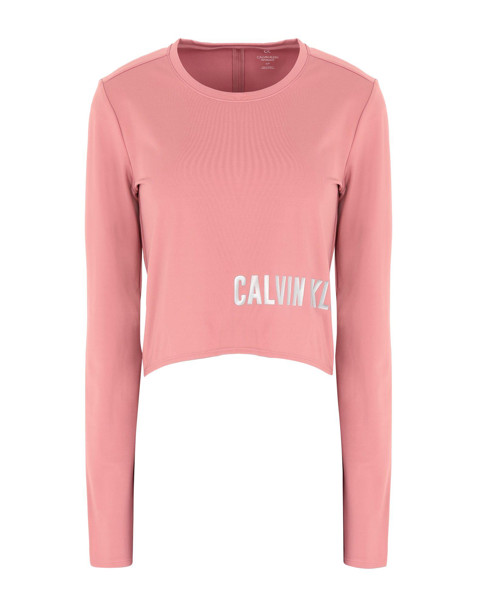 《セール開催中》CALVIN KLEIN PERFORMANCE レディース T シャツ ピンク XS ポリエステル 79% / ポリウレタン 21% LONG SLEEVE T-SHIRT