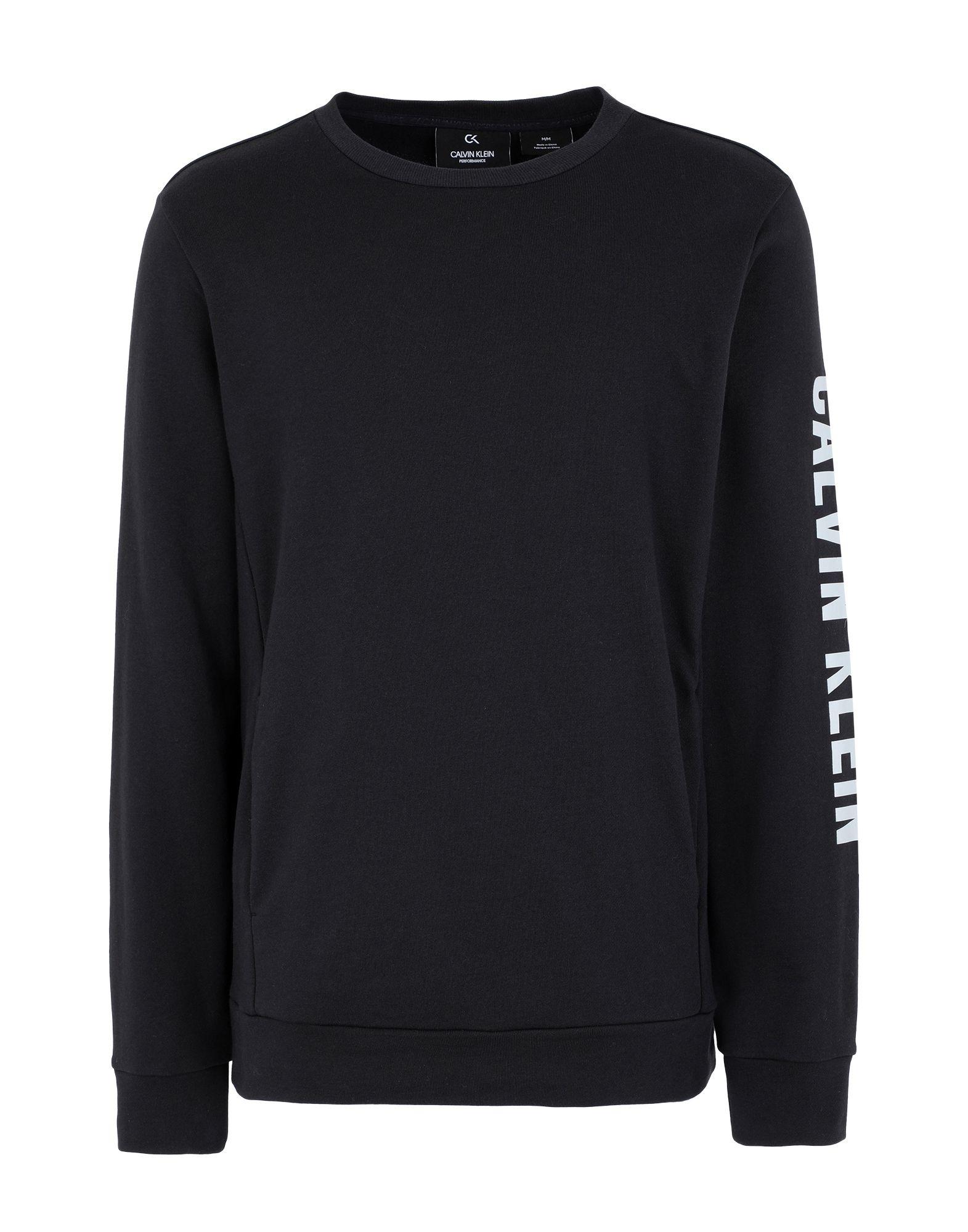 《セール開催中》CALVIN KLEIN PERFORMANCE メンズ スウェットシャツ ブラック S コットン 100% PULLOVER