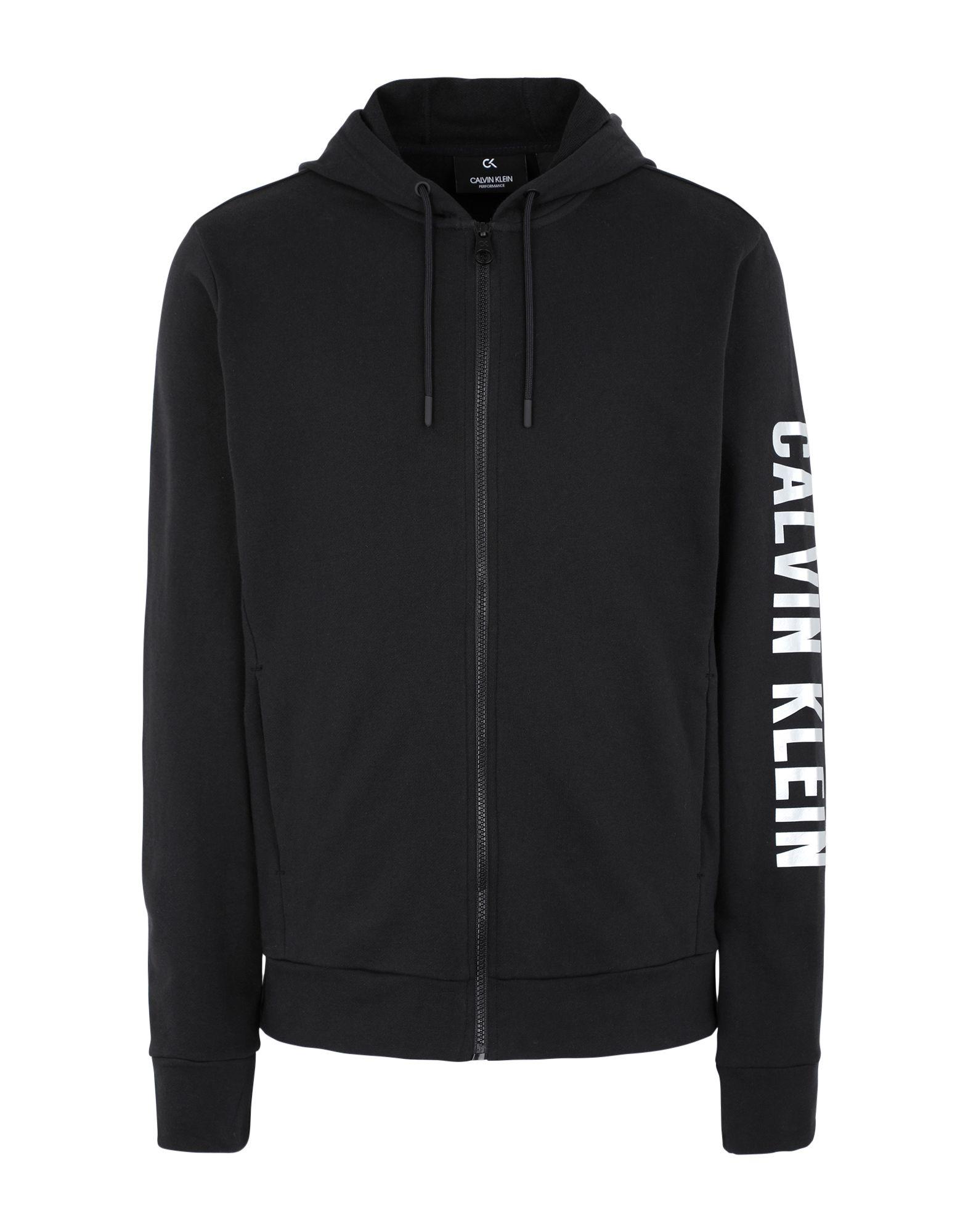 《セール開催中》CALVIN KLEIN PERFORMANCE メンズ スウェットシャツ ブラック S コットン 100% FULL ZIP HOODED JACK