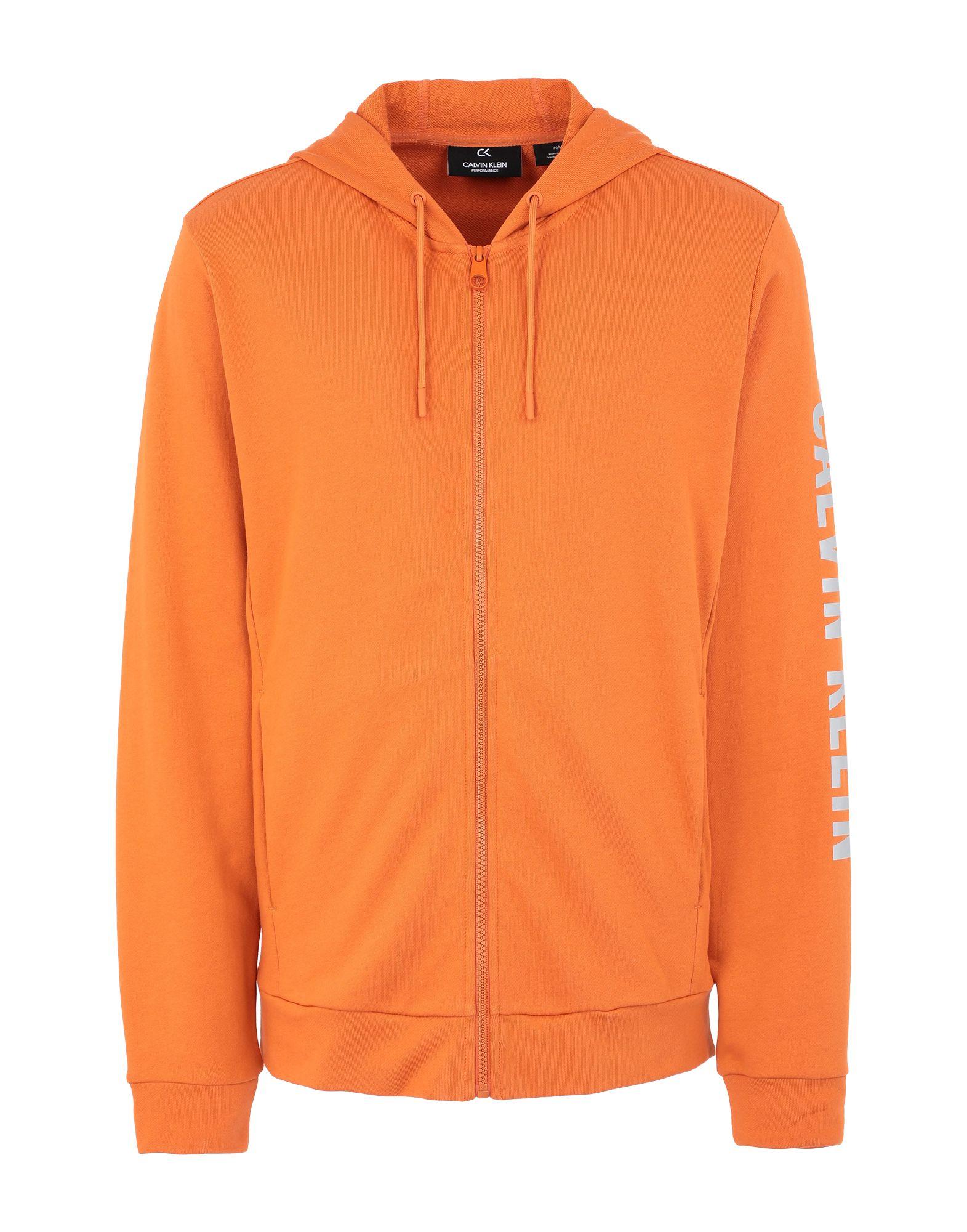 《セール開催中》CALVIN KLEIN PERFORMANCE メンズ スウェットシャツ オレンジ S コットン 100% FULL ZIP HOODED JACK