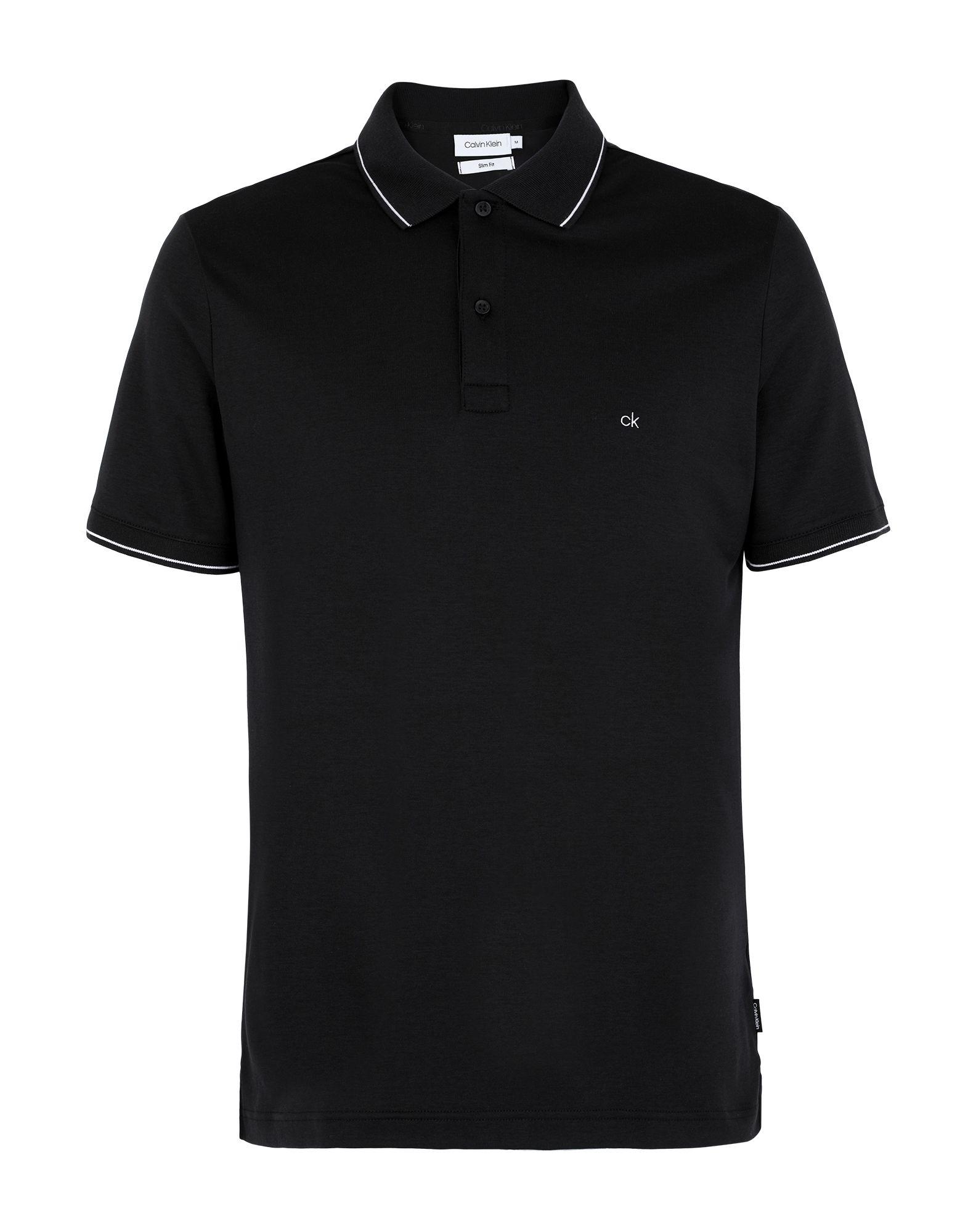 《セール開催中》CALVIN KLEIN メンズ ポロシャツ ブラック S コットン BCI 100% SOFT INTERLOCK TIP