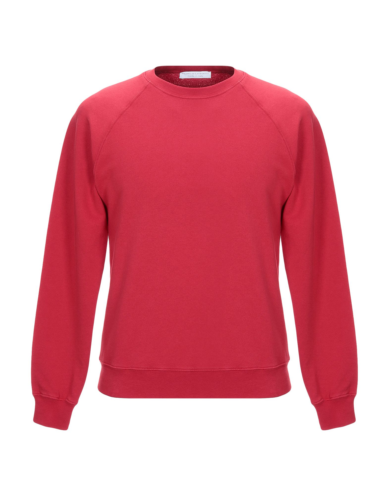 《セール開催中》FILIPPO DE LAURENTIIS メンズ スウェットシャツ レッド 46 コットン 100%