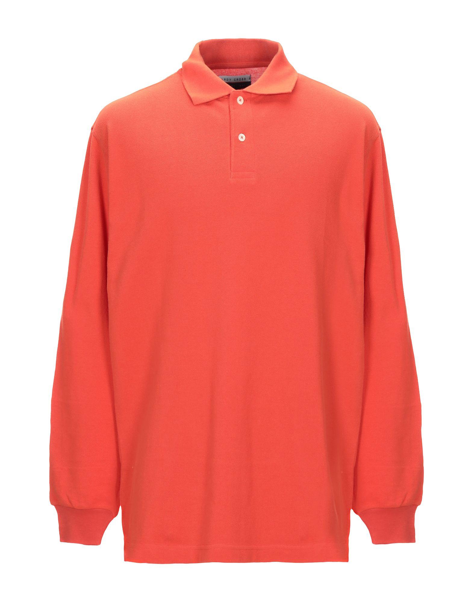 HARDY CROBB'S メンズ ポロシャツ 赤茶色 - ダークブラウン - ビタミングリーン - オレンジ - イエロー - スカイブルー - レッド
