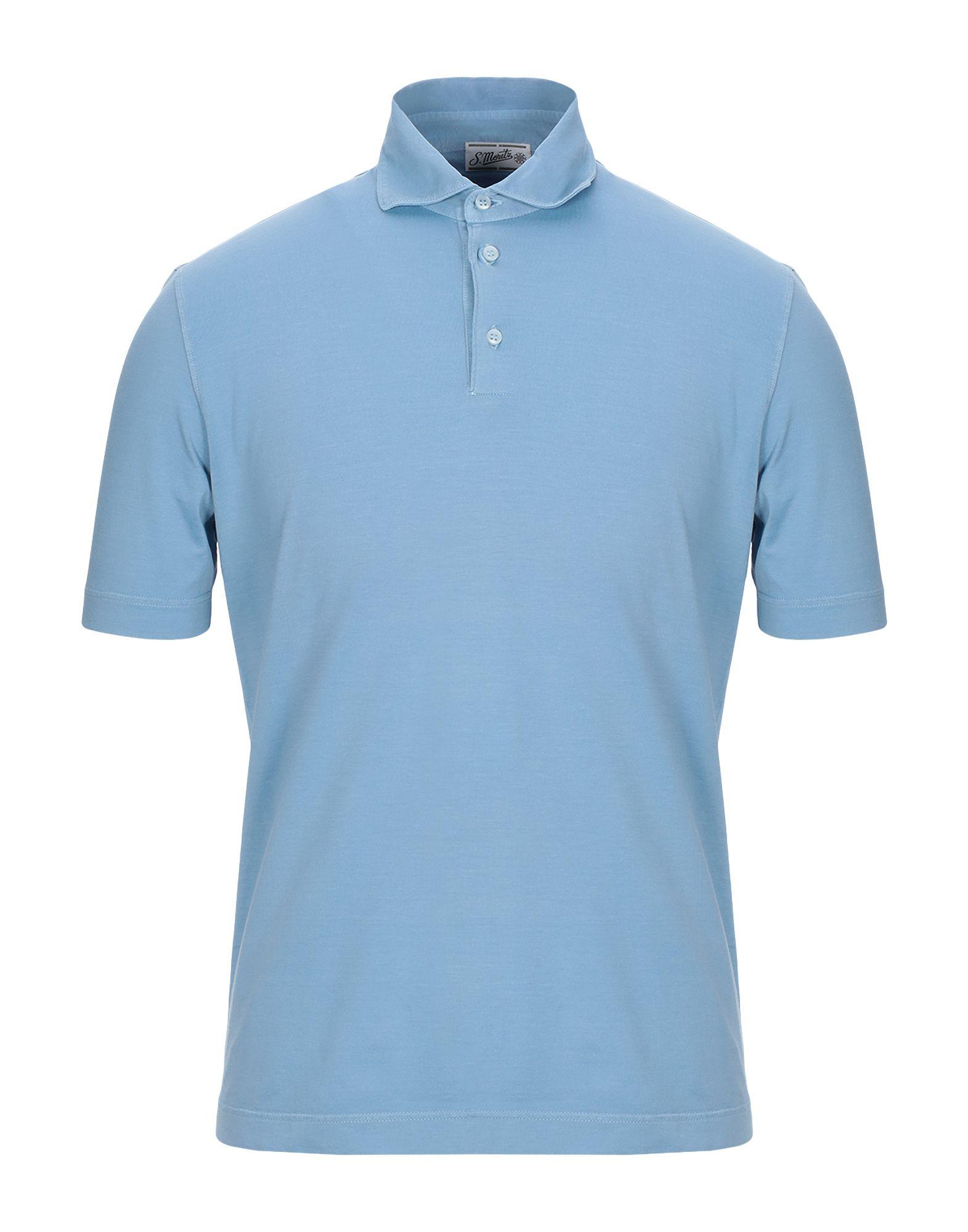 《セール開催中》S. MORITZ メンズ ポロシャツ アジュールブルー 48 コットン 100%
