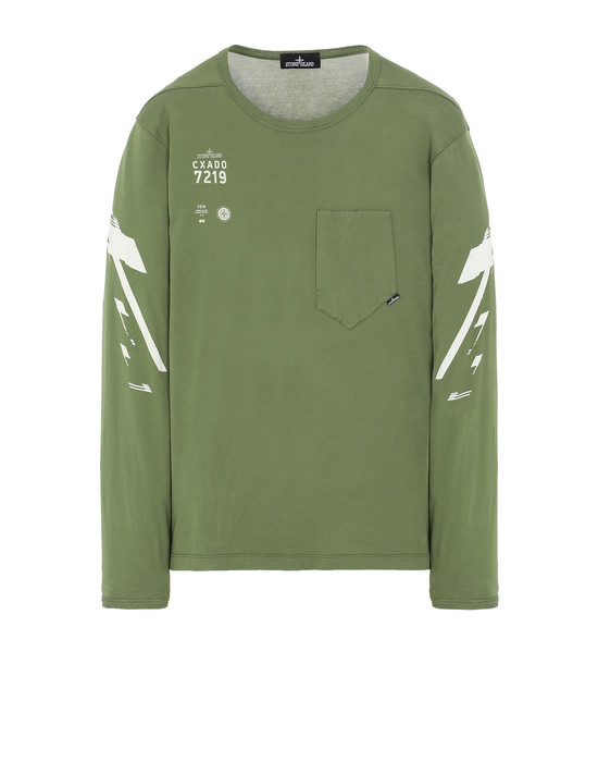 STONE ISLAND SHADOW PROJECT 20214 PRINTED LS CATCH POCKET-T2 Long sleeve t-shirt Man Olive Green