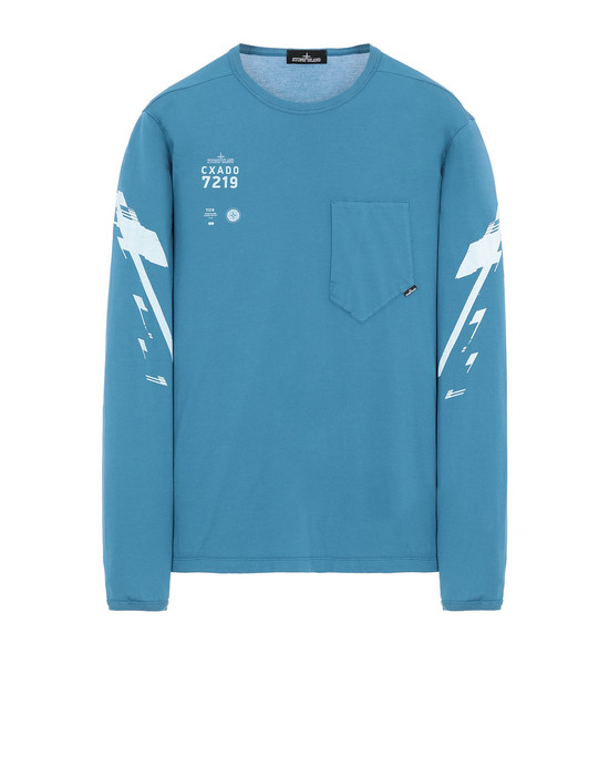STONE ISLAND SHADOW PROJECT 20214 PRINTED LS CATCH POCKET-T2 Long sleeve t-shirt Man Teal