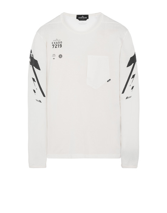 STONE ISLAND SHADOW PROJECT 20214 PRINTED LS CATCH POCKET-T2 Langärmliges Shirt Herr Natürliches Weiss