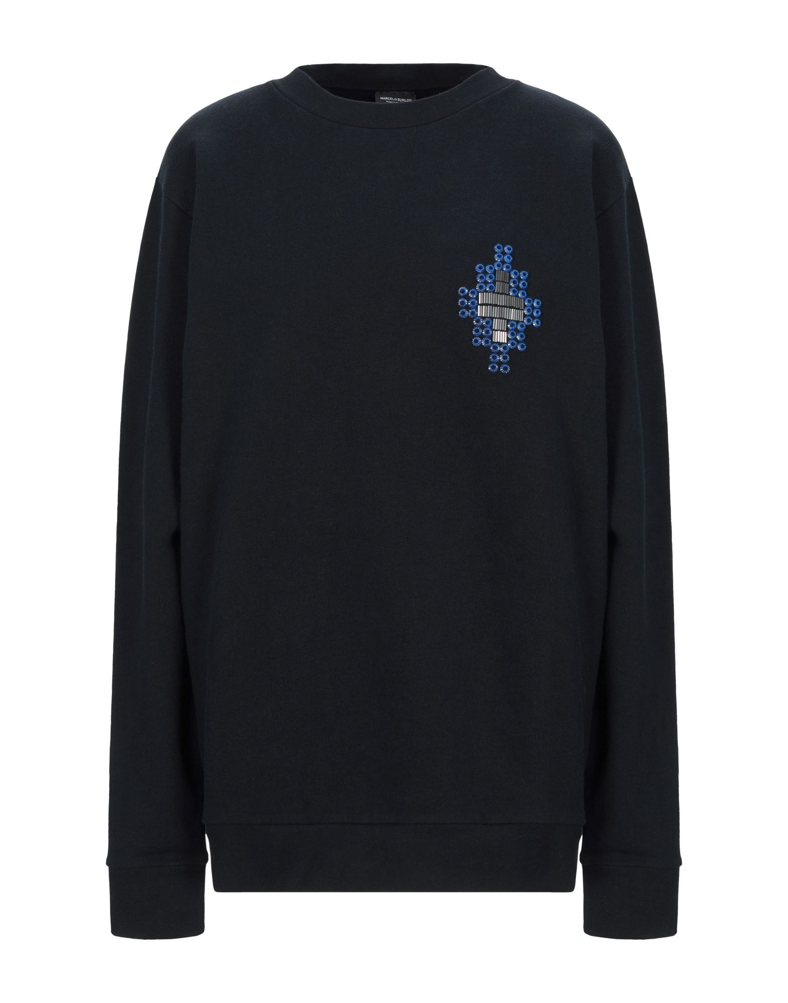 MARCELO BURLON Sweatshirts. beads, solid color, round collar, long sleeves, french terry lining. 100% Cotton