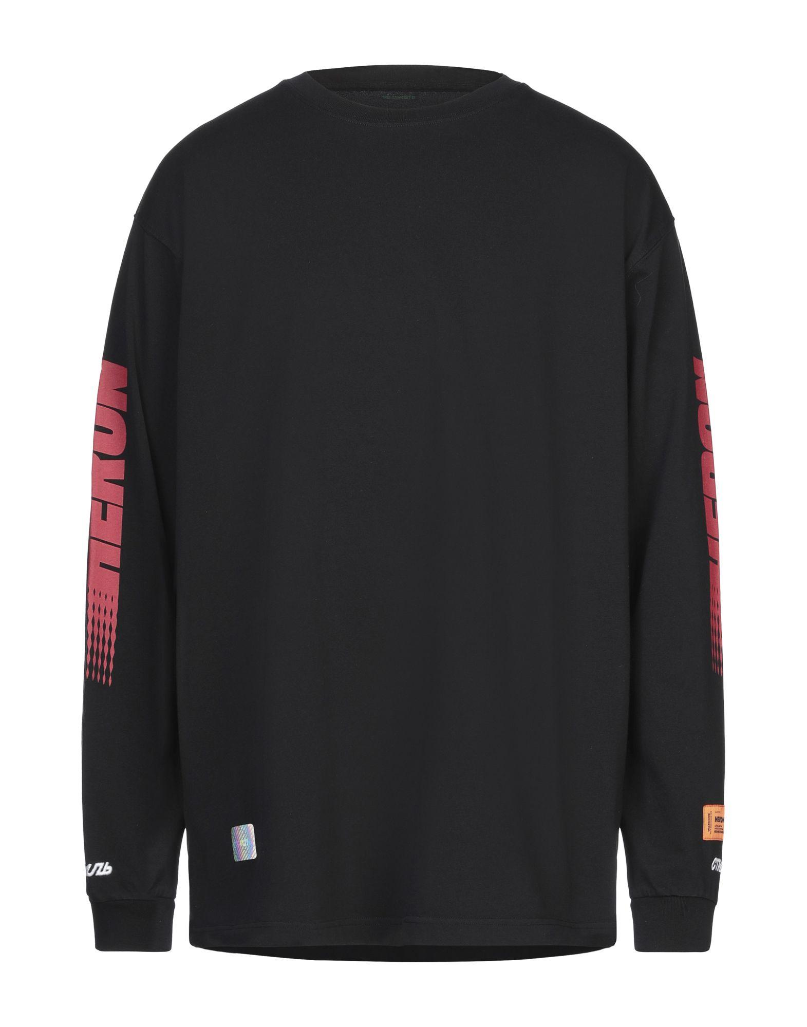 HERON PRESTON T-shirts. jersey, logo, print, solid color, round collar, long sleeves, no pockets. 100% Cotton, Polyester