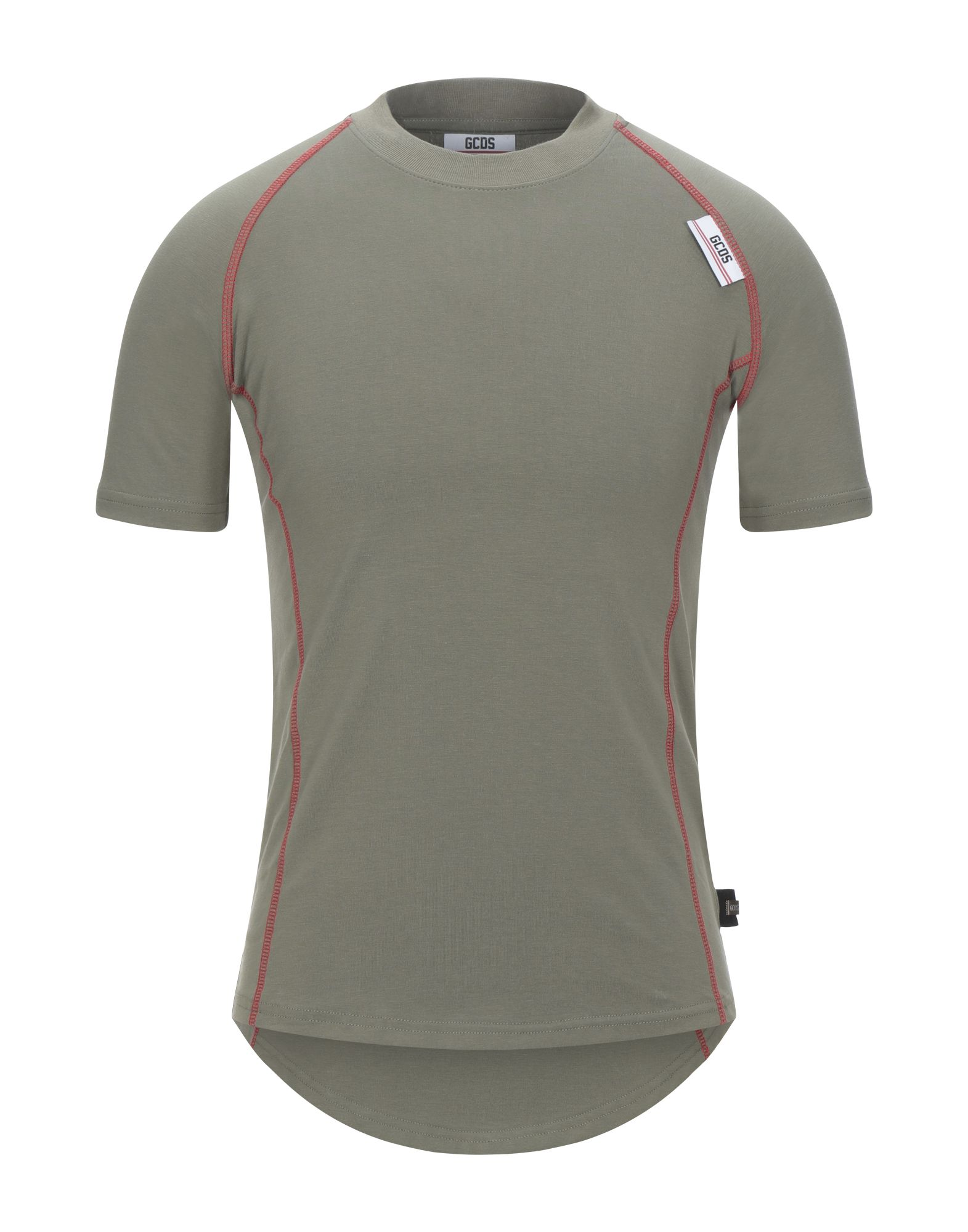 GCDS T-shirts. jersey, side seam stripes, logo, solid color, round collar, short sleeves, no pockets, stretch. 90% Cotton, 10% Elastane