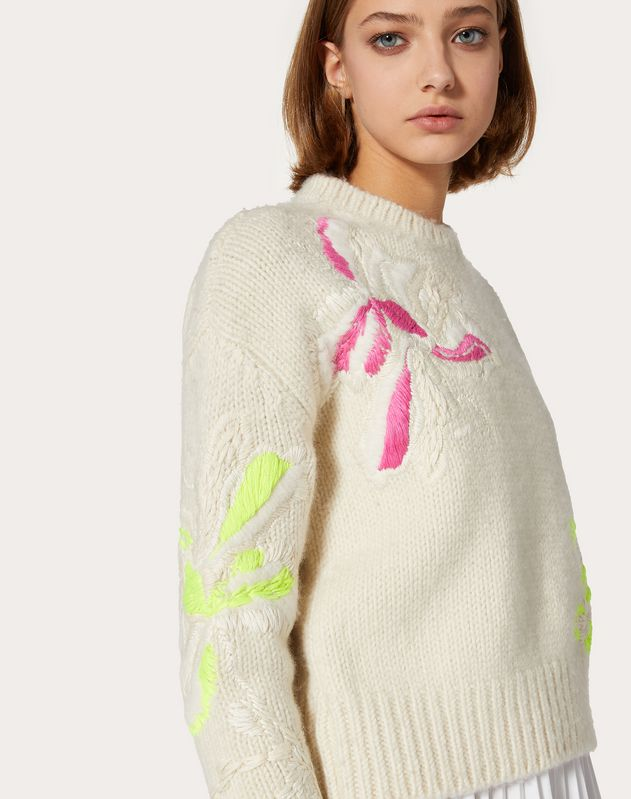 Embroidered Cashmere Wool Sweater