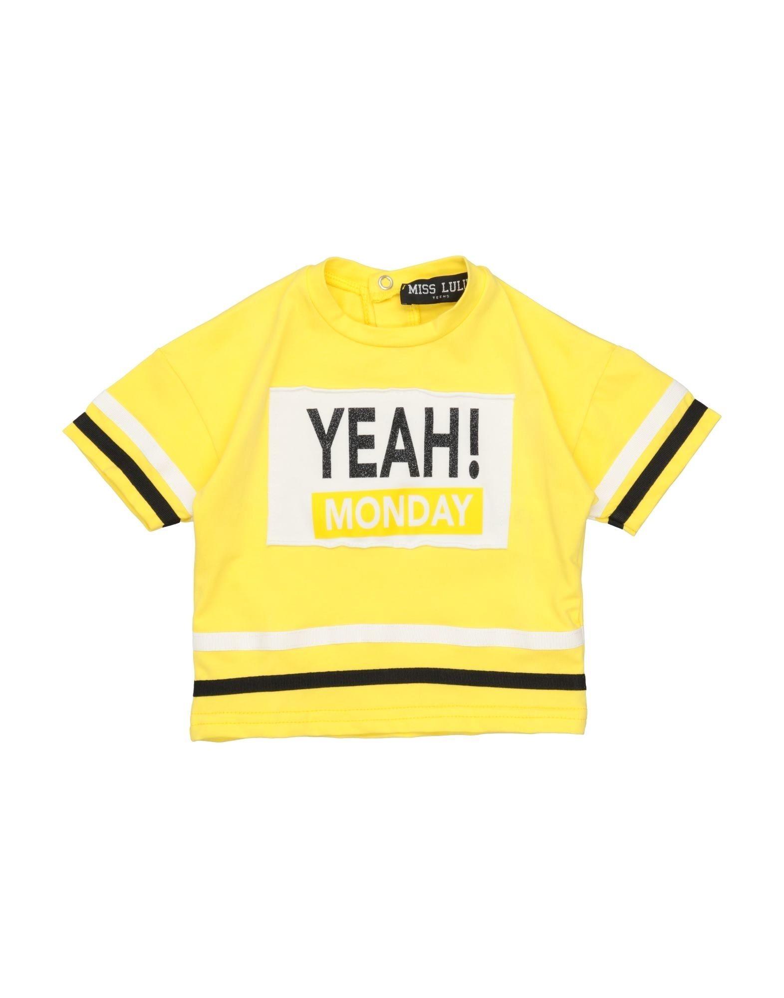 Miss Lulù Kids' T-shirts In Yellow