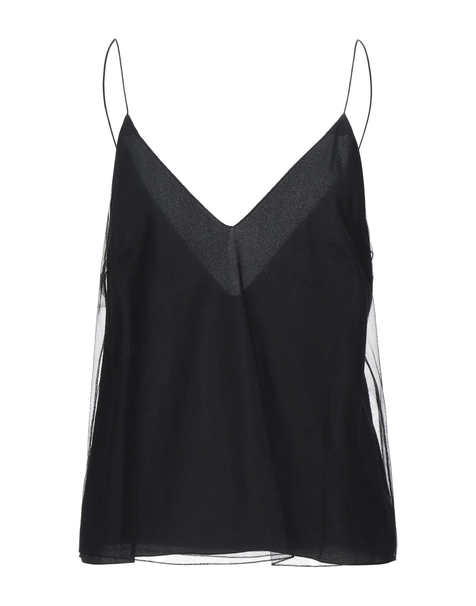 CHLOÉ Tank tops. tulle, no appliqués, basic solid color, deep neckline, sleeveless, no pockets, fully lined. 100% Polyamide, Silk