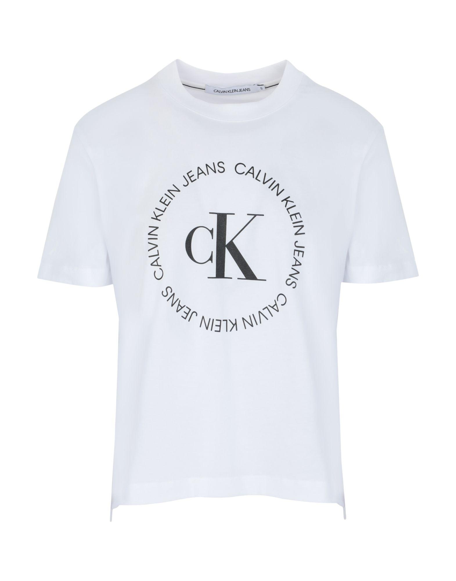 《セール開催中》CALVIN KLEIN JEANS レディース T シャツ ホワイト XS コットン BCI 100% CK ROUND LOGO STRAIGHT T-SHIRT