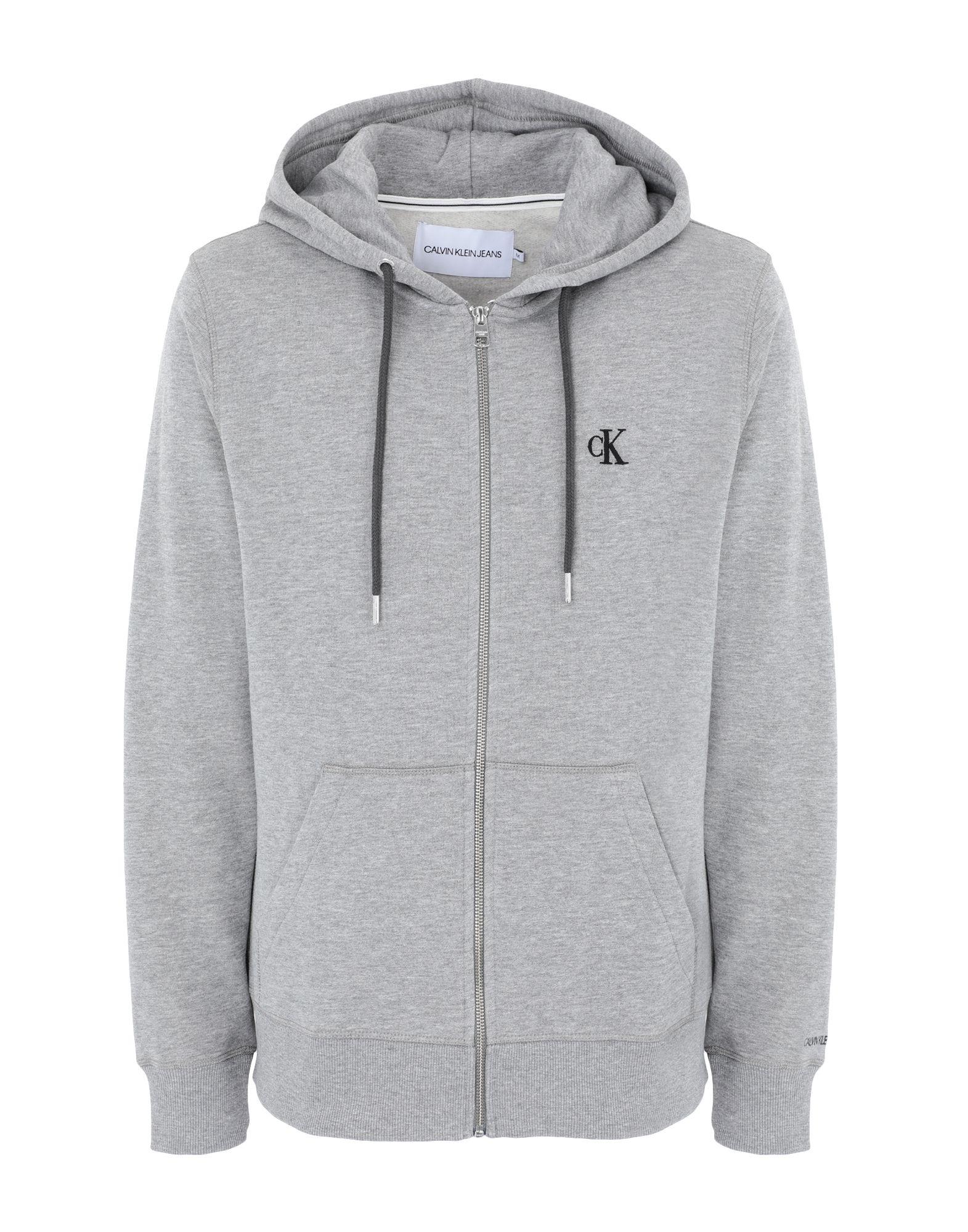 《セール開催中》CALVIN KLEIN JEANS メンズ スウェットシャツ グレー S コットン 50% / ポリエステル 50% CK ESSENTIAL REGULAR ZIP
