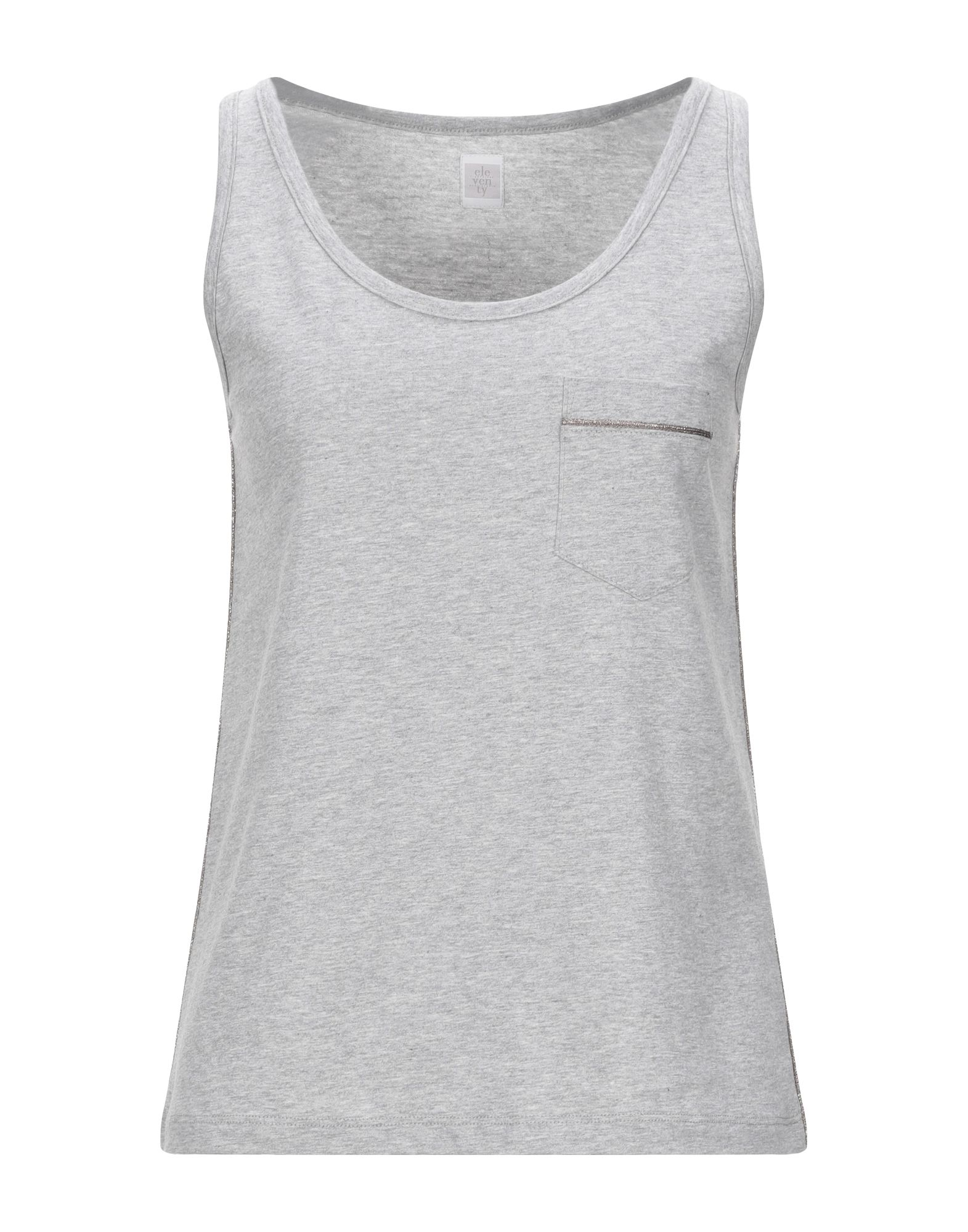 ELEVENTY Tank tops. jersey, lamé, side seam stripes, solid color, round collar, sleeveless, single pocket. 100% Cotton