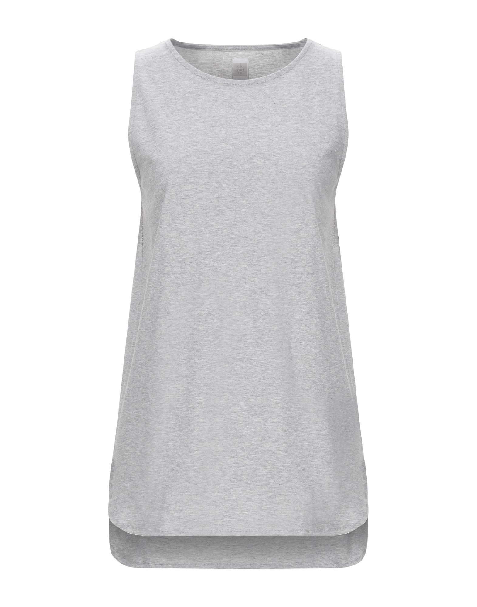 ELEVENTY Tank tops. jersey, lamé, side seam stripes, solid color, round collar, sleeveless, no pockets. 100% Cotton