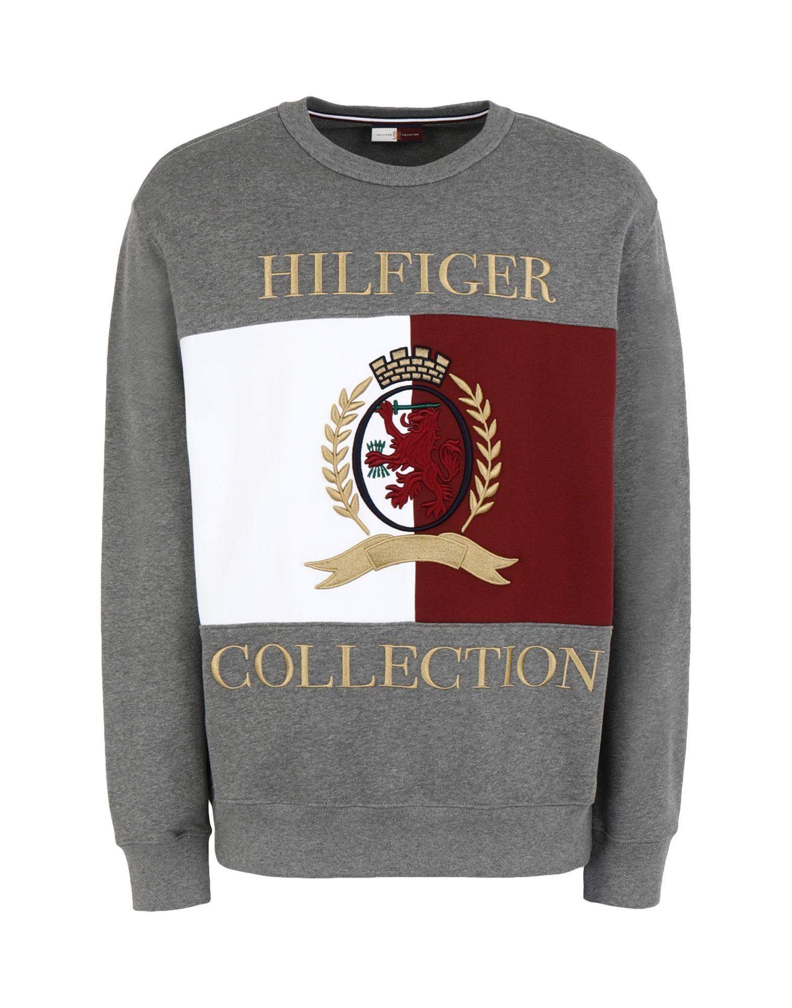 《セール開催中》HILFIGER COLLECTION メンズ スウェットシャツ グレー S コットン 100% HCM CREST & FLAG CREW