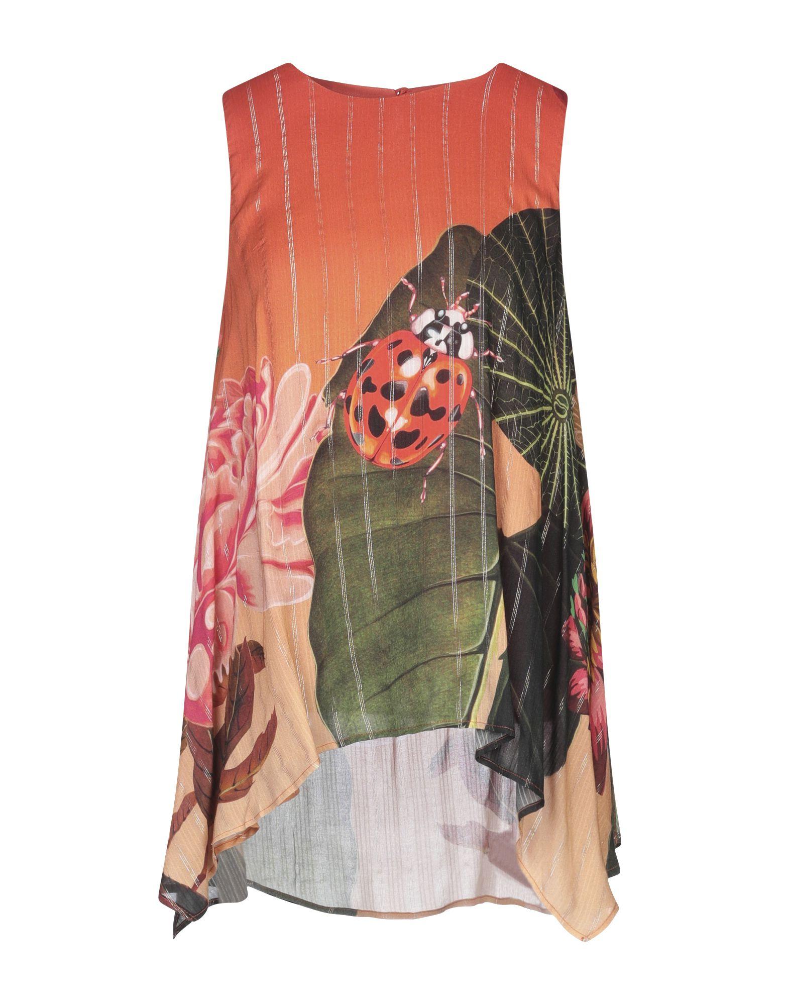 DESIGUAL Топ без рукавов платье без рукавов с принтом вуаль на подкладке desigual vest juana