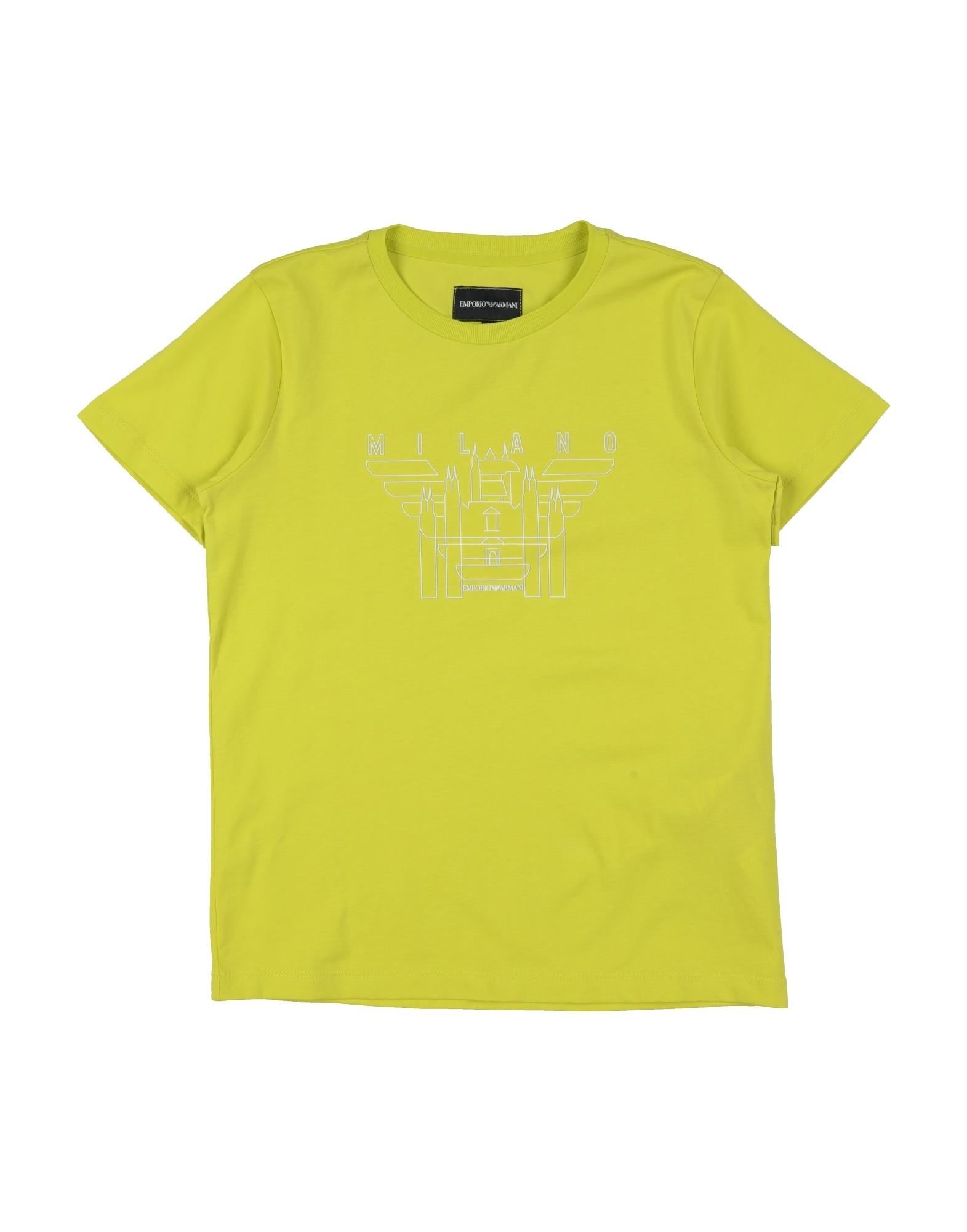 Emporio Armani Kids' T-shirts In Acid Green