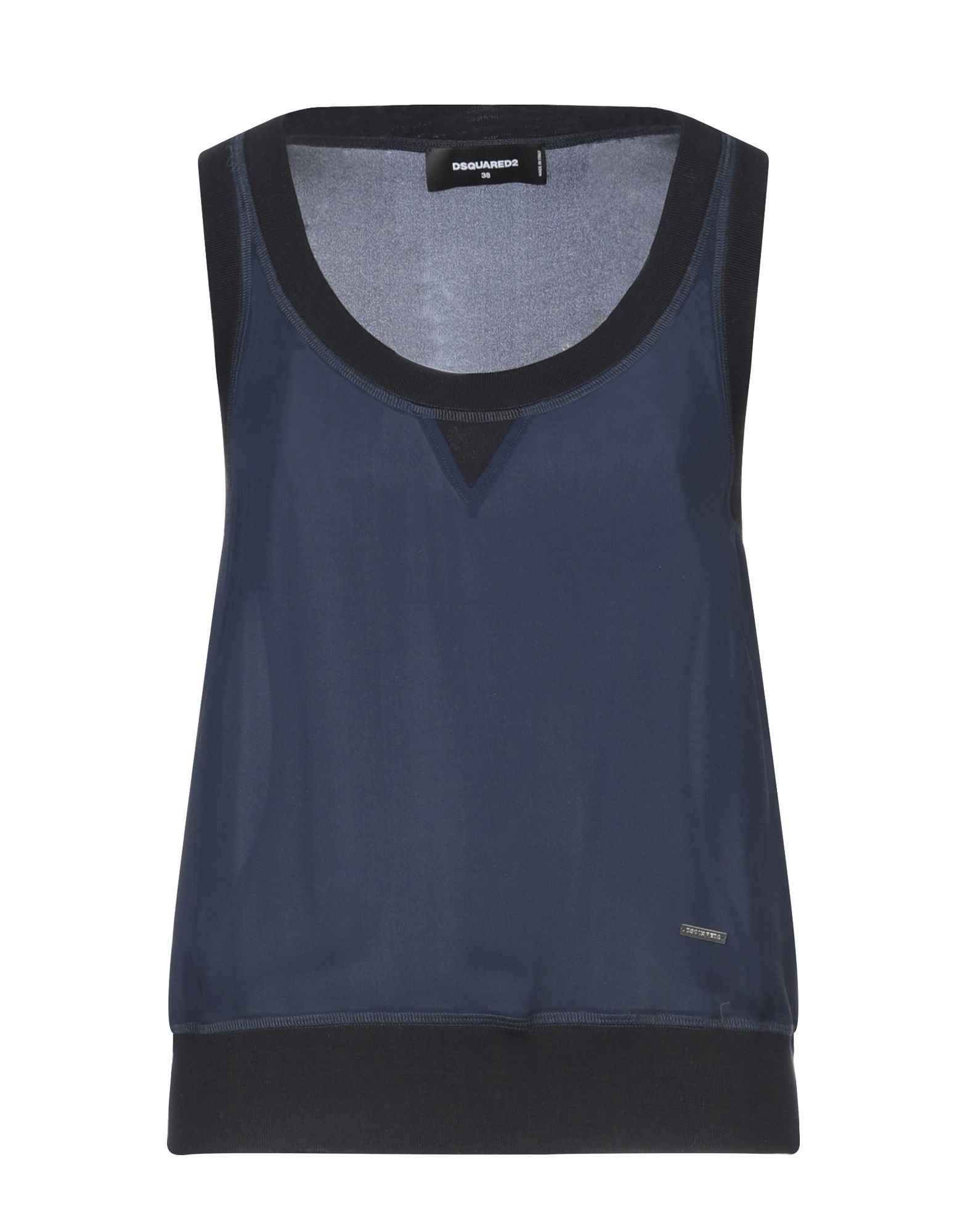 DSQUARED2 Tube tops. knitted, crepe, logo, solid color, round collar, sleeveless, no pockets. 100% Silk, Elastane