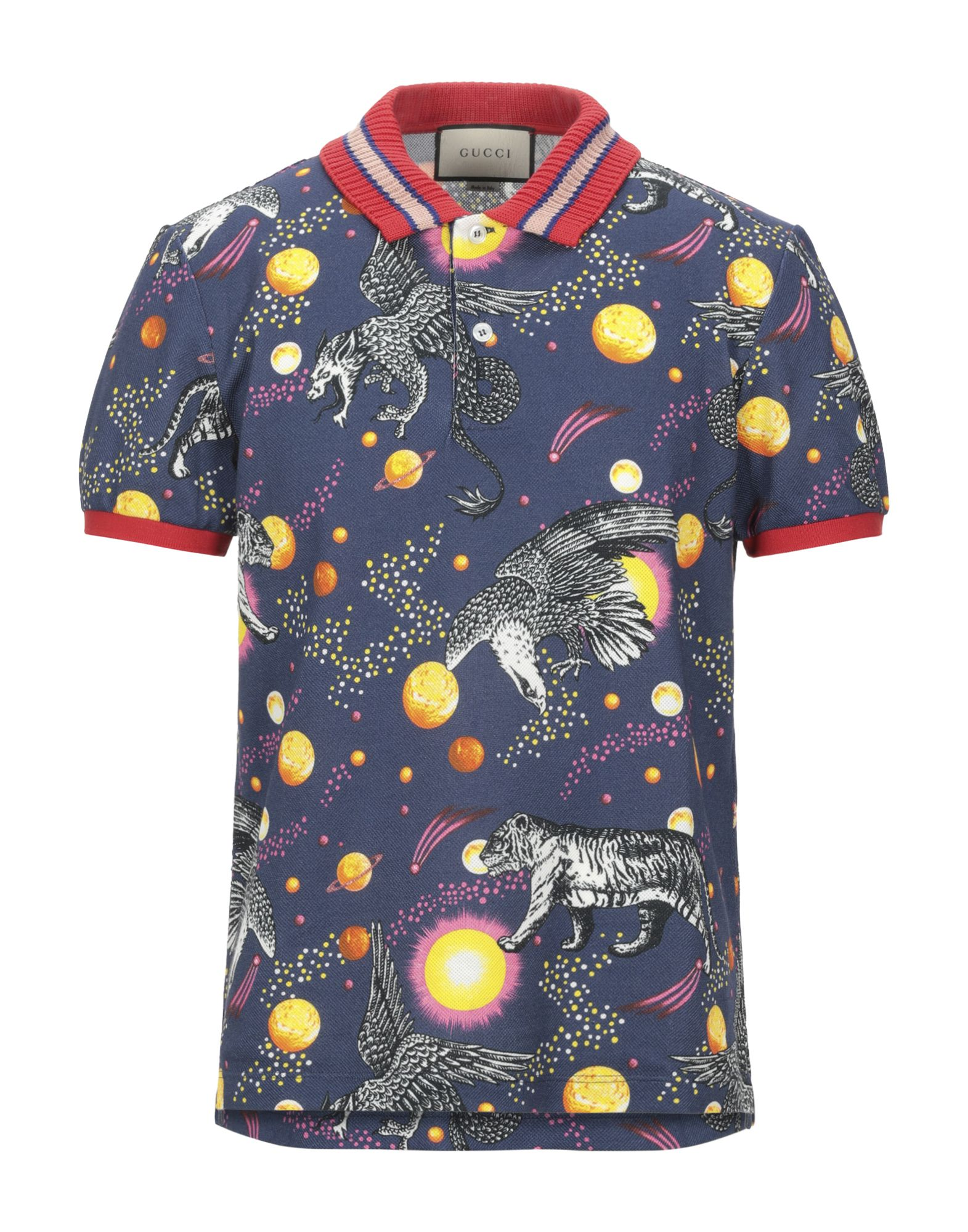 GUCCI Polo shirts. knitted, piqué, no appliqués, multicolor pattern, polo collar, short sleeves, front closure, button closing, stretch, large sized. 93% Cotton, 7% Elastane