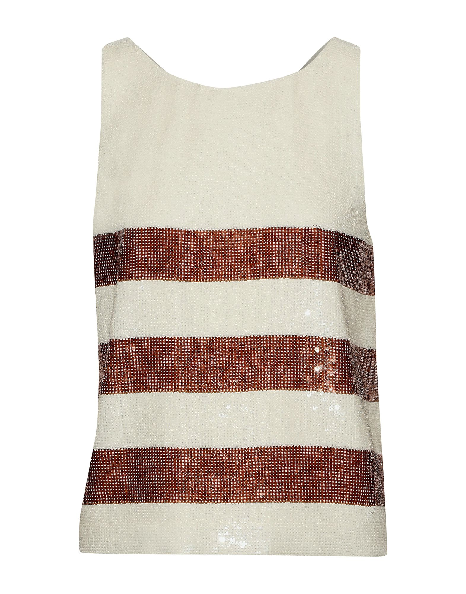 VERONICA BEARD Tops. crepe, sequins, stripes, round collar, sleeveless, no pockets, fully lined. 100% Polyester