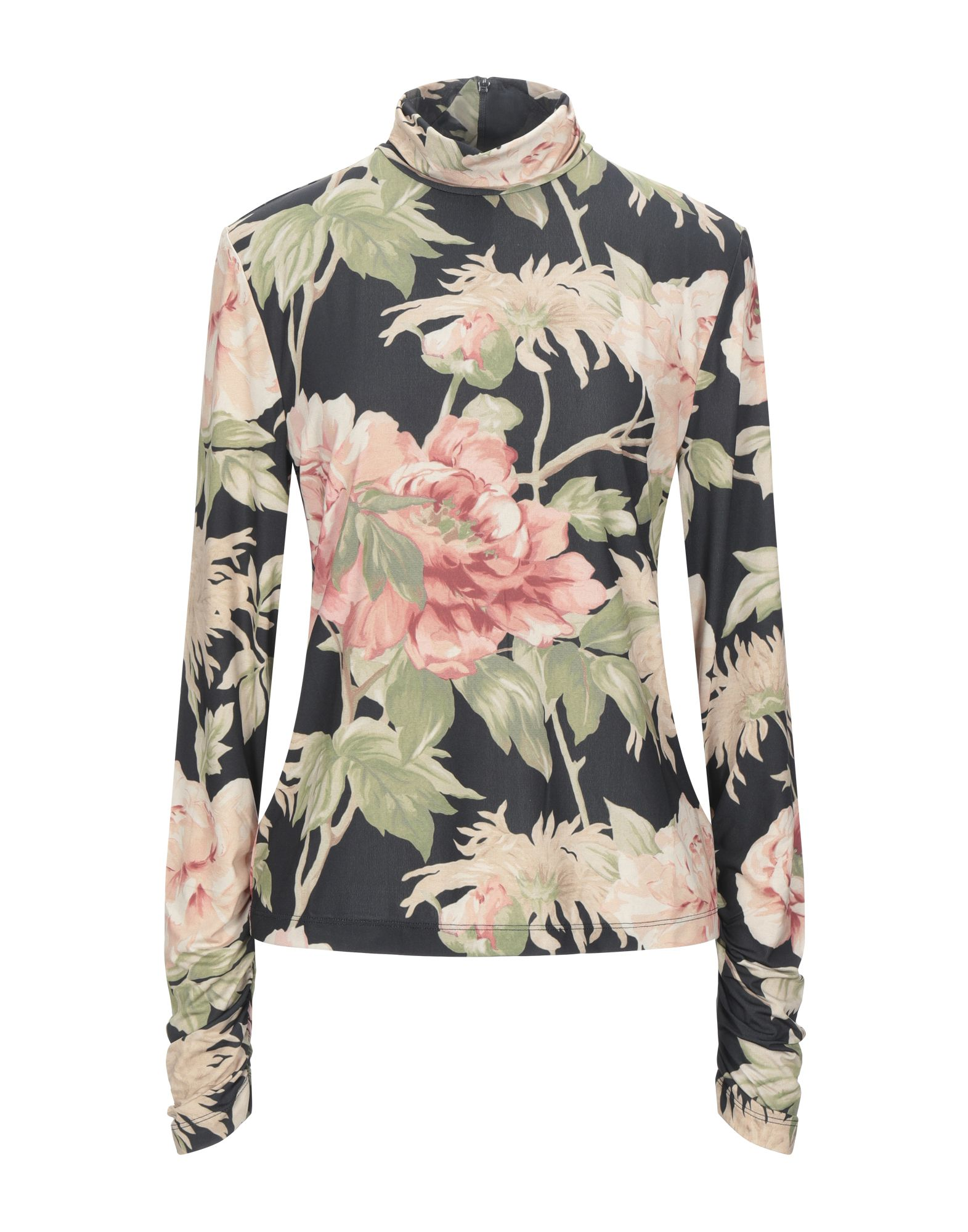 ZIMMERMANN T-shirts. jersey, frills, floral design, turtleneck, long sleeves, rear closure, zipper closure, no pockets, stretch. 92% Polyester, 8% Elastane
