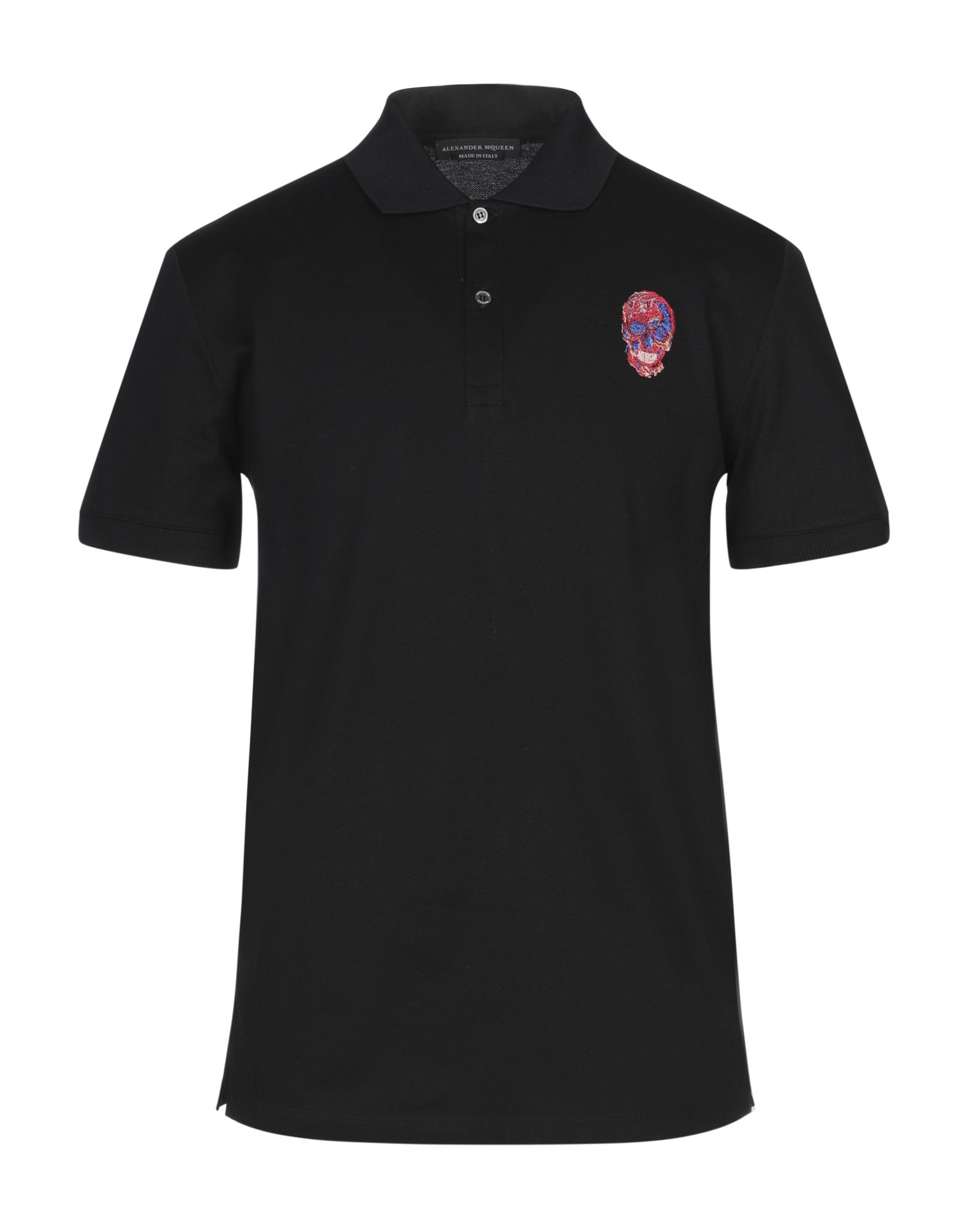 ALEXANDER MCQUEEN Polo shirts. piqué, embroidered detailing, solid color, polo collar, short sleeves, front closure, button closing, no pockets, side slit hemline, large sized. 100% Cotton, Viscose, Polyester