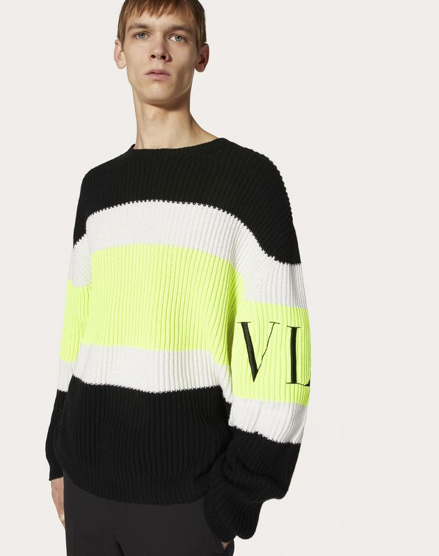 CREW-NECK JUMPER WITH VLTN INTARSIA