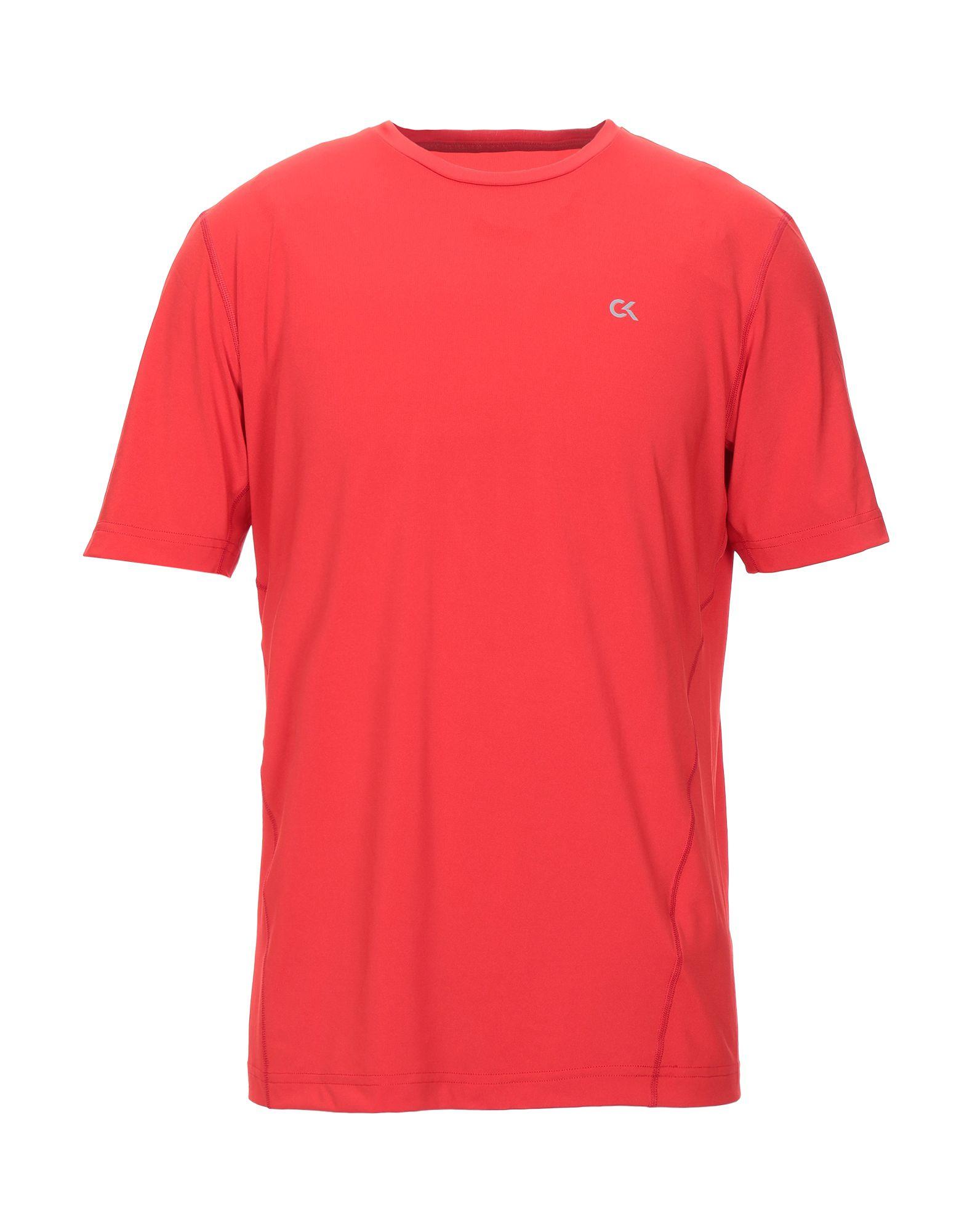 《セール開催中》CALVIN KLEIN PERFORMANCE メンズ T シャツ レッド M ポリエステル 82% / ポリウレタン 18%