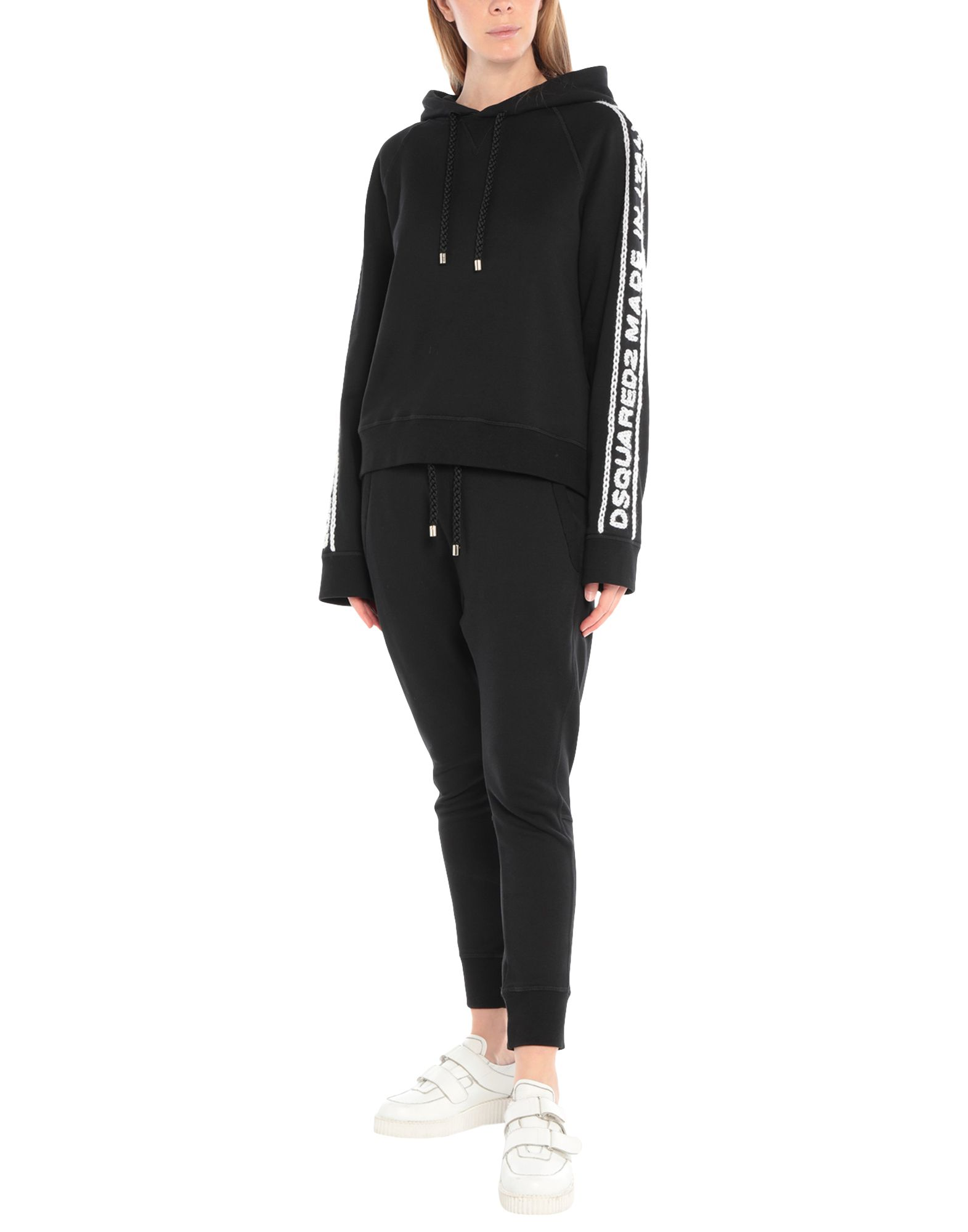 DSQUARED2 Sweatsuits. sweatshirt fleece, beads, embroidered detailing, solid color, hooded collar, no pockets, long sleeves, fleece lining. 100% Cotton, Elastane, Wool, Glass