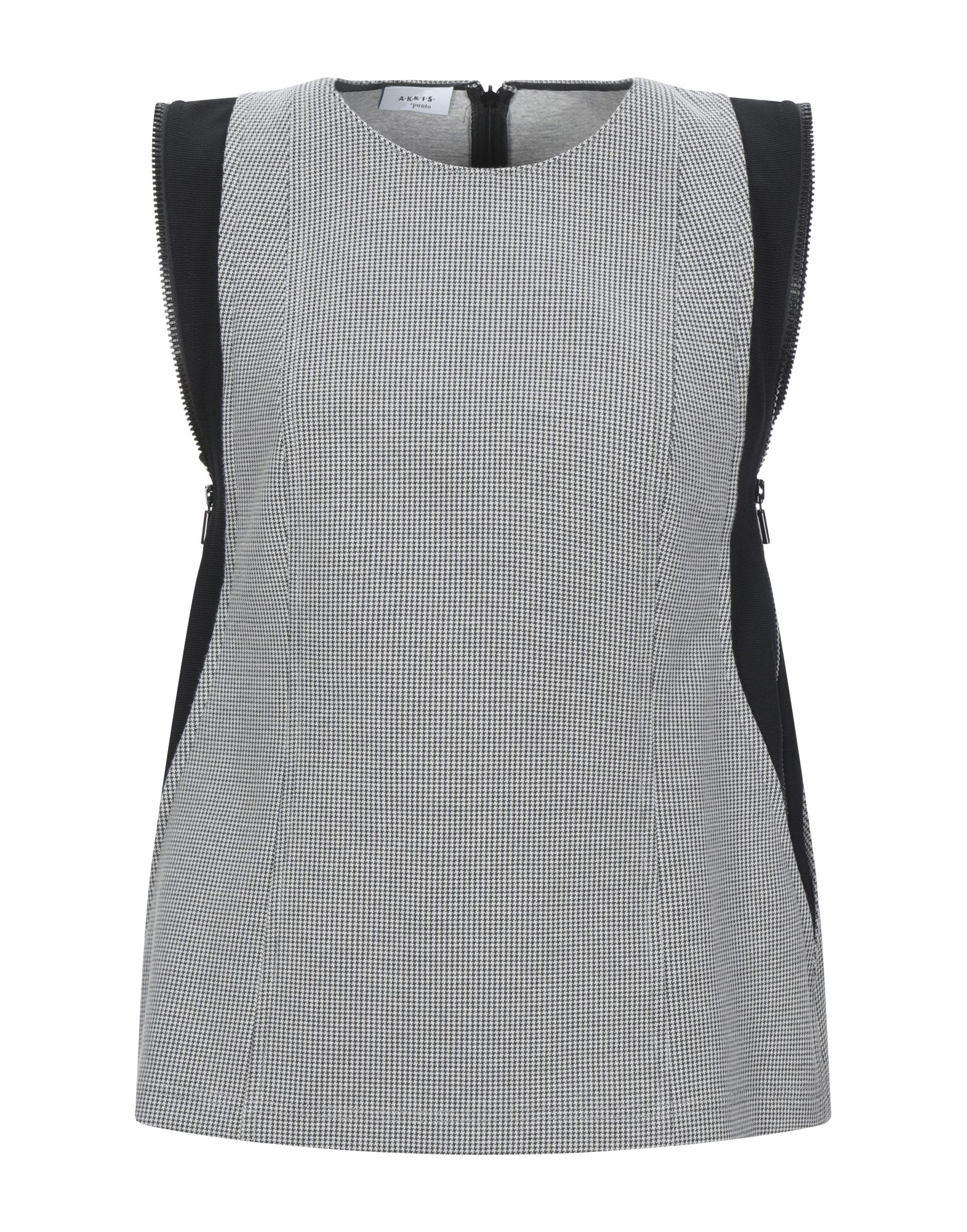 AKRIS PUNTO Tops. sweatshirt fleece, no appliqués, houndstooth, round collar, sleeveless, rear closure, zipper closure, no pockets. 51% Polyester, 46% Cotton, 3% Polyamide, Elastane