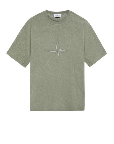 STONE ISLAND 24555 FLECK TREATMENT Short sleeve t-shirt Man Olive Green EUR 248