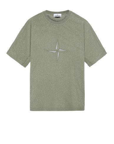 STONE ISLAND 24555 FLECK TREATMENT Short sleeve t-shirt Man Olive Green USD 219