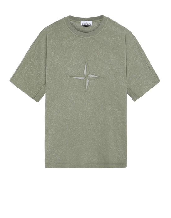 STONE ISLAND 24555 FLECK TREATMENT Short sleeve t-shirt Man Olive Green