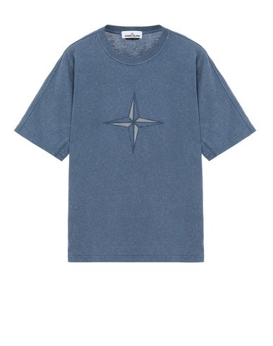 STONE ISLAND 24555 FLECK TREATMENT Short sleeve t-shirt Man Marine Blue USD 167