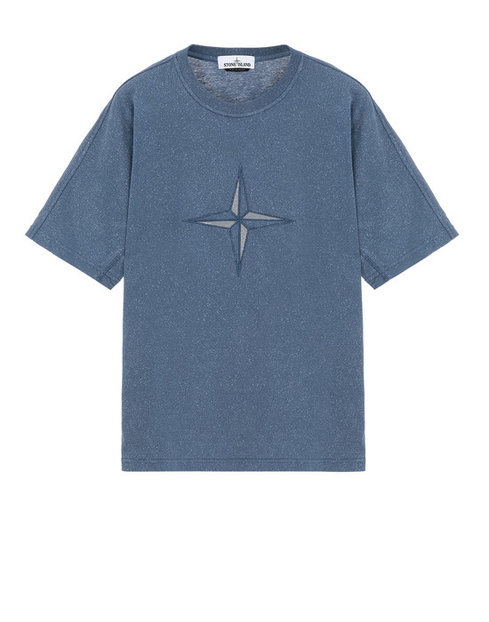 STONE ISLAND 24555 FLECK TREATMENT Short sleeve t-shirt Man Marine Blue