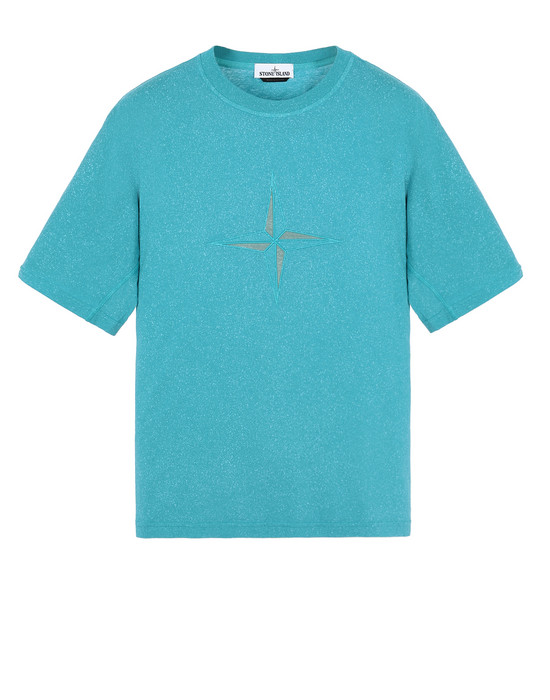 STONE ISLAND 24555 FLECK TREATMENT Short sleeve t-shirt Man Turquoise