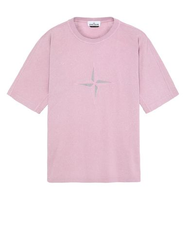 STONE ISLAND 24555 FLECK TREATMENT Short sleeve t-shirt Man Pink Quartz EUR 223