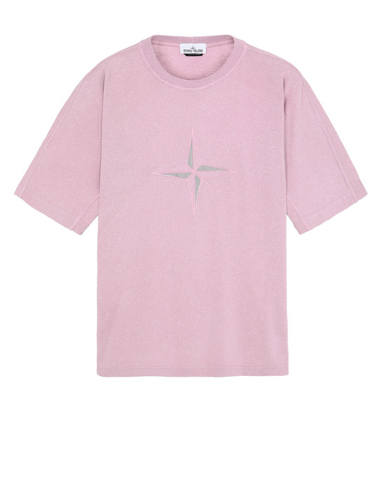 STONE ISLAND 24555 FLECK TREATMENT Short sleeve t-shirt Man Pink Quartz