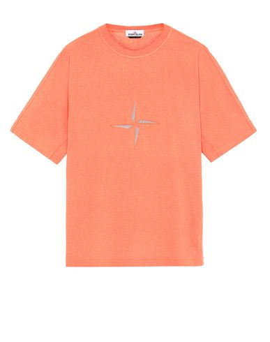 STONE ISLAND 24555 FLECK TREATMENT Short sleeve t-shirt Man Lobster Red USD 315