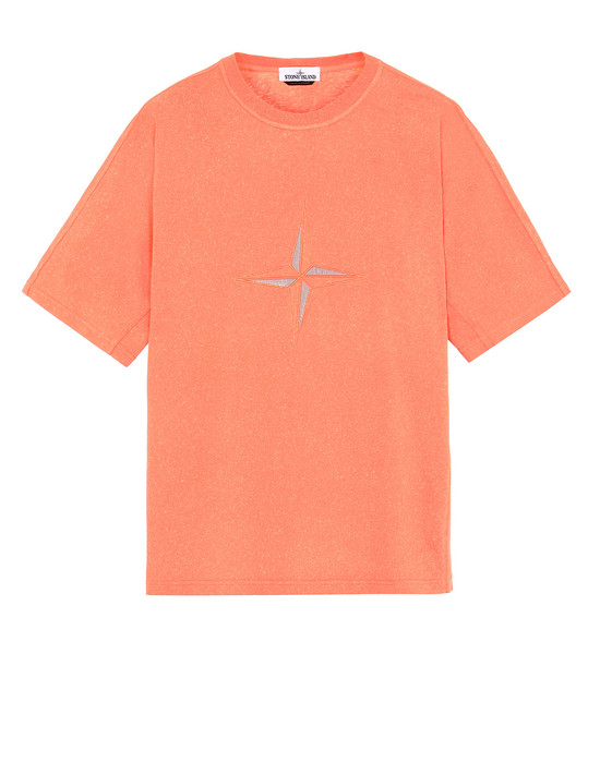 STONE ISLAND 24555 FLECK TREATMENT Short sleeve t-shirt Man Lobster Red