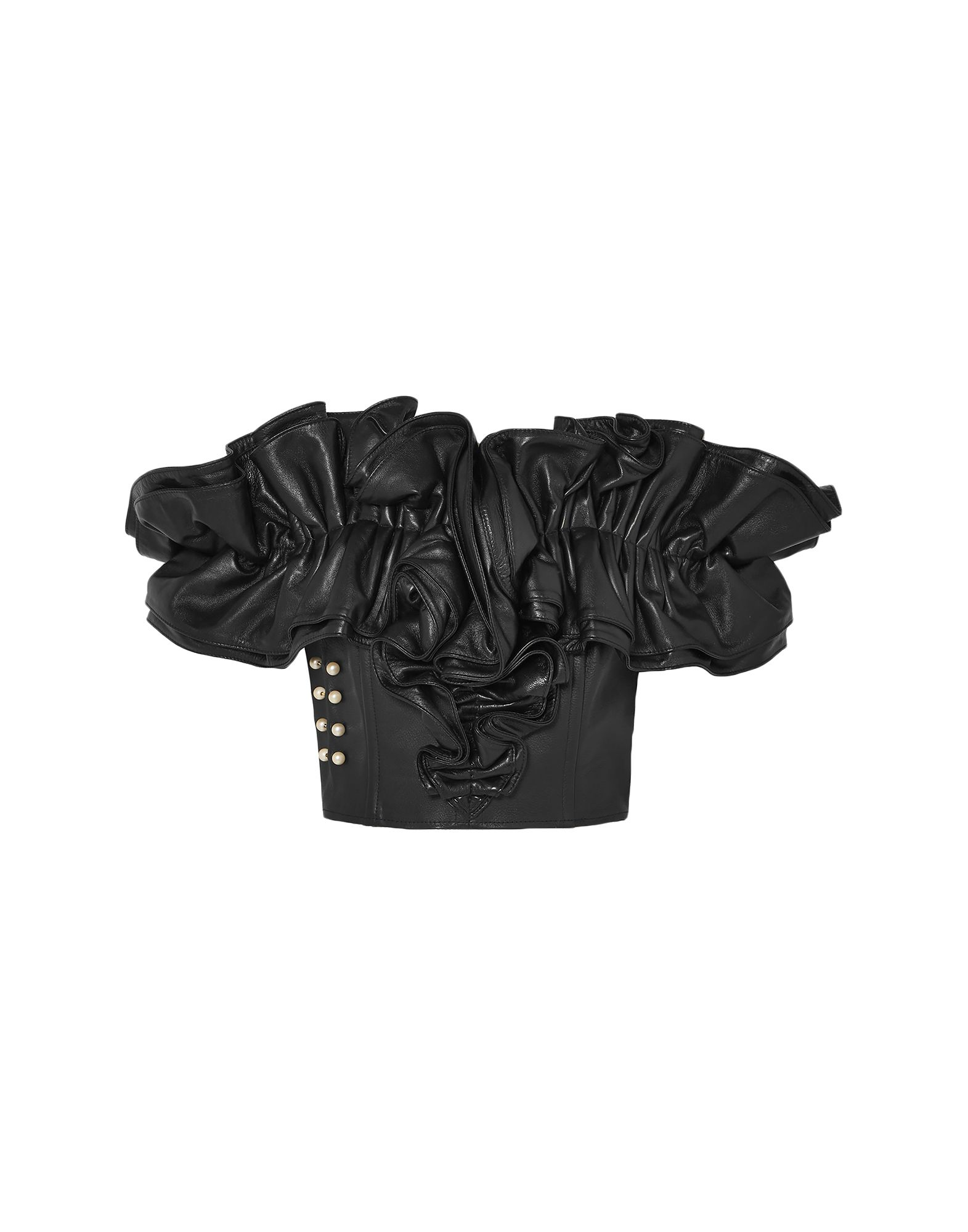 RODARTE Tops. leather, ruffles, beads, solid color, wide neckline, short sleeves, rear closure, zipper closure, fully lined, contains non-textile parts of animal origin. 75% Lambskin, 25% Bovine leather