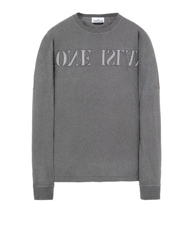 STONE ISLAND 24455 FLECK TREATMENT Long sleeve t-shirt Man Blue Grey EUR 193