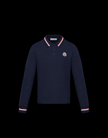 LONG-SLEEVED POLO Dark blue New in Man