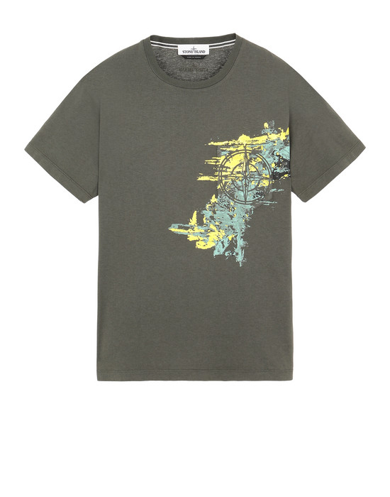 STONE ISLAND 24682 PAINT STROKE 3 Short sleeve t-shirt Man Musk Green