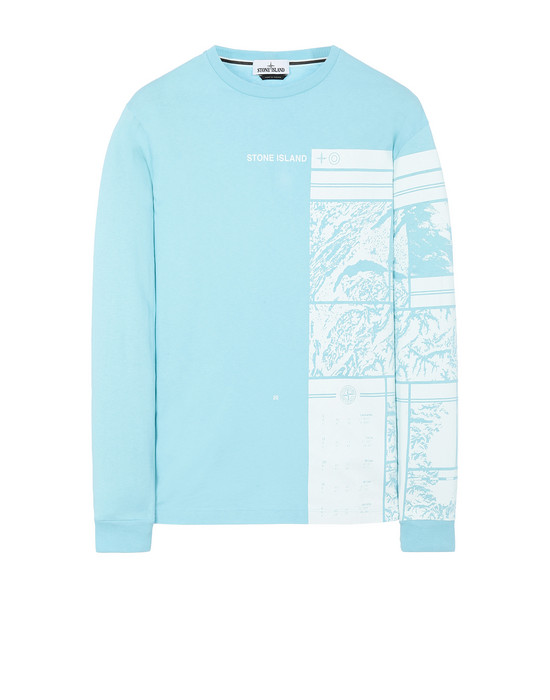 STONE ISLAND 2ML85 MURAL PART 1 Long sleeve t-shirt Man Aqua