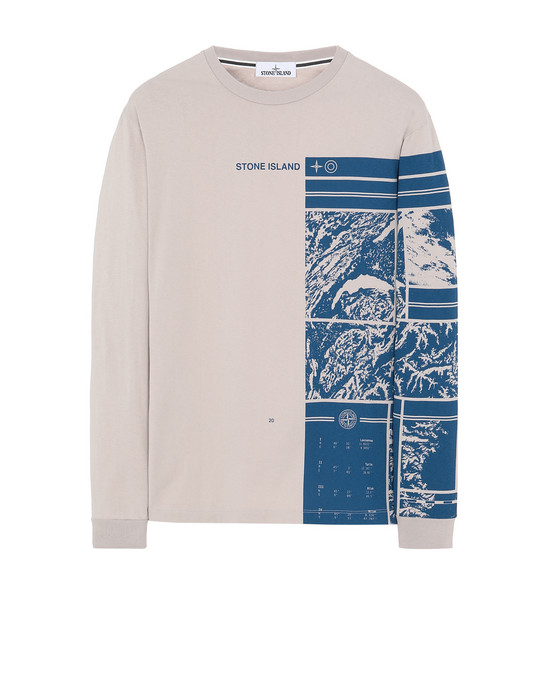 STONE ISLAND 2ML85 MURAL PART 1 Long sleeve t-shirt Man Dove Gray
